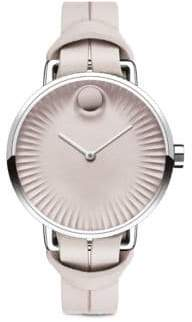 Movado Edge Stainless Steel & Leather Strap Watch/Blush