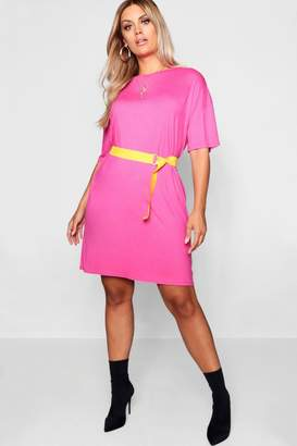 boohoo Plus Belted Tshirt Dress