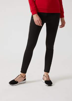 Emporio Armani Ea7 Slim-Fit Premium Technical Fabric Leggings With Eco-Leather Inserts
