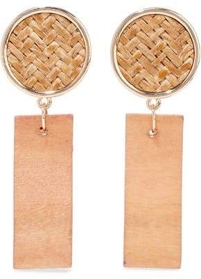 Kenneth Jay Lane Gold-Tone Straw And Wood Earrings