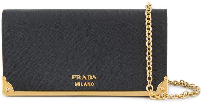Prada Black Leather wallet on chain bag
