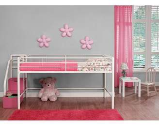 DHP Junior Twin Metal Loft Bed with Storage Steps, Twin Size, Pink/White