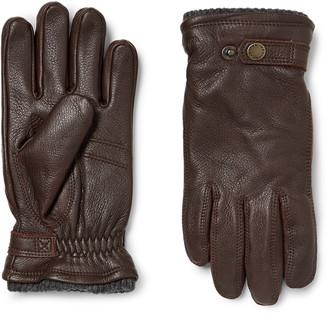 Hestra Utsjo Fleece-Lined Full-Grain Leather Gloves - Men - Brown