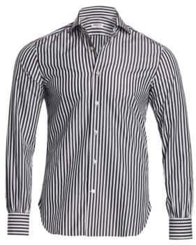 Kiton Classic-Fit Stripe Cotton Sport Shirt