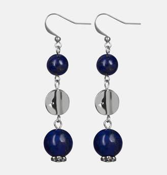 Avenue Blue Drop Hammered Earrings
