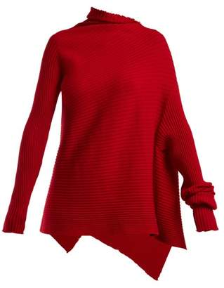 Marques Almeida Marques'almeida - Asymmetric Ribbed Knit Sweater - Womens - Red