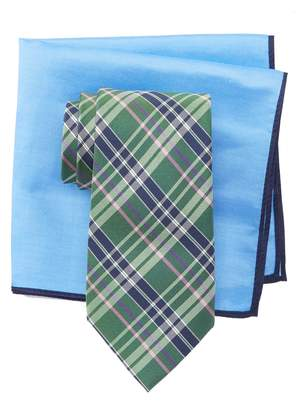 Ted Baker Multi Color Plaid Silk Tie & Pocket Square Set