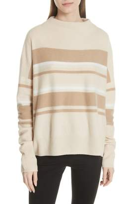 Vince Cashmere Ombre Stripe Mock Neck Sweater