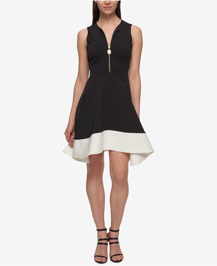 DKNY DKNY Zip-Front Colorblocked Fit & Flare Dress