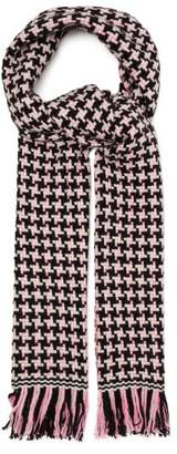 Isabel Marant Bremen Houndstooth Wool Blend Scarf - Womens - Pink