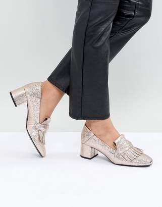 MANGO Metallic Mid Heel Loafers