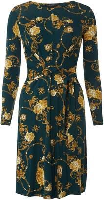 Dorothy Perkins Womens **Tall Green Chain Print Skater Dress