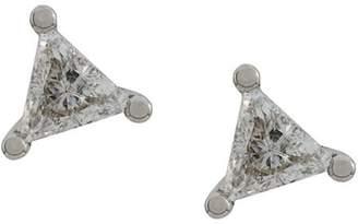 Delfina Delettrez 18kt white gold Dots Solitare Trillion Diamond stud earrings