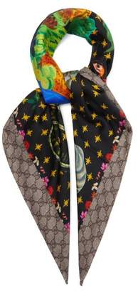 Gucci Spaniel Dogs And Vase Print Silk Scarf - Womens - Multi