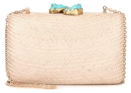 Kayu Jen embellished straw box clutch