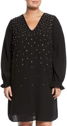 MICHAEL Michael Kors Long-Sleeve Scatter-Studded Shift Dress, Plus Size