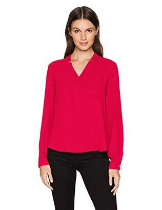 Nine West Women's Long Sleeve Light Weight Crepe Two Pocket Blouse