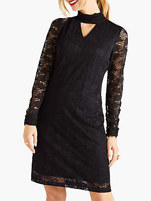 Yumi Long Sleeve Lace Dress, Black