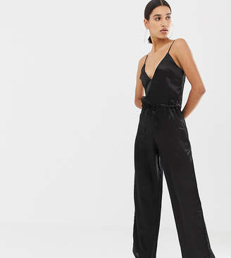Missguided satin jumpsuit in black