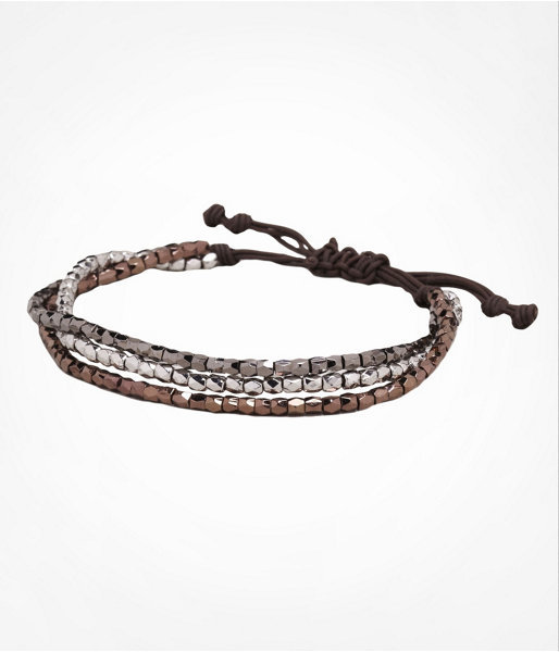 Three Row Metallic Mixed Bead Cord Bracelet