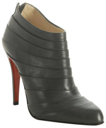 Christian Louboutin grey pleated leather 'Orniron' booties