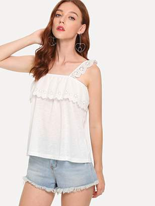 Shein Eyelet Embroidered Ruffle Trim Cami Top