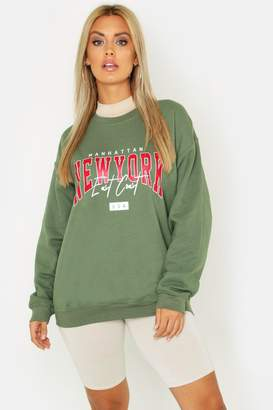 boohoo Plus New York Slogan Sweat