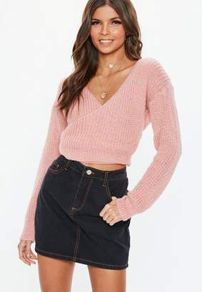 Missguided Blush V Neck Wrap Crop Sweater