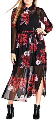 City Chic Rose Print Maxi Dress