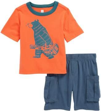 Tea Collection Baby Bear T-Shirt & Cargo Shorts Set (Baby Boys)
