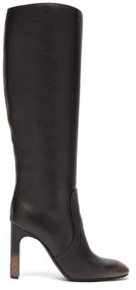 Bottega Veneta Intrecciato Heel Leather Knee High Boots - Womens - Black