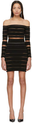 Balmain Black Sheer Striped Off-The-Shoulder Dress