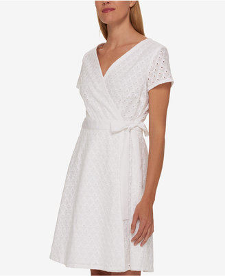 Tommy Hilfiger Cotton Lace Wrap Dress, Only at Macy's $129.50 thestylecure.com