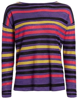 Saks Fifth Avenue Silk Linen Stripe Pullover