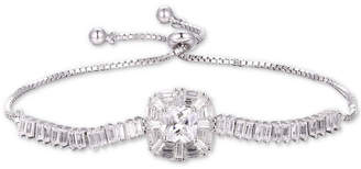 Tiara Cubic Zirconia Baguette Bolo Bracelet in Sterling Silver