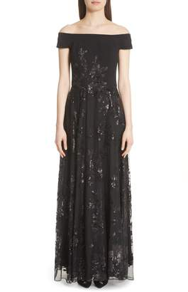 Carmen Marc Valvo Couture Off the Shoulder Gown
