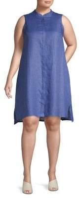 Anne Klein Plus Mandarin Collar Linen Trapeze Dress
