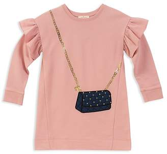 Kate Spade Girls' French Terry Quilted-Handbag Sweater Dress - Little Kid