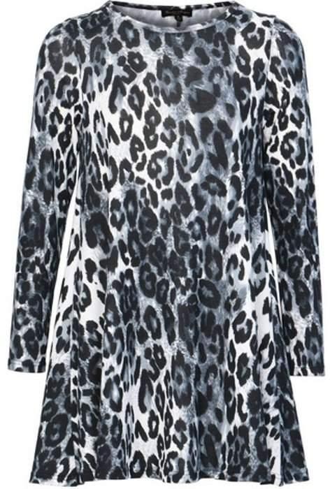 Womens *Izabel London Grey Leopard Print Swing Dress