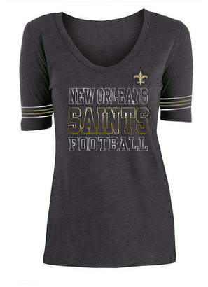 5th & Ocean Women's New Orleans Saints Tri Blend Foil Sleeve Stripe T-Shirt