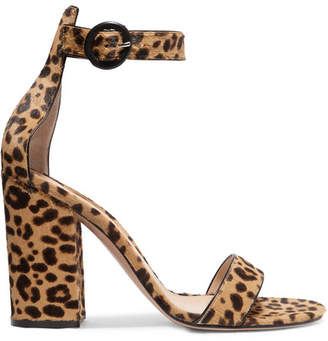 Gianvito Rossi Versilia 100 Leopard-print Calf Hair Sandals - Leopard print