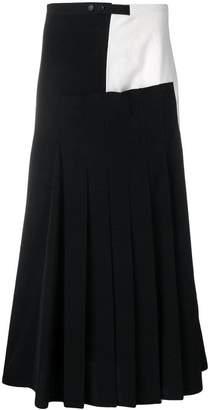Yohji Yamamoto two-tone pleated skirt