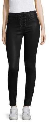 Hudson Bullocks Lace-Up Coated Skinny Jeans