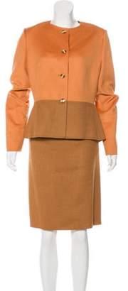 Bill Blass Collarless Skirt Suit Collarless Skirt Suit