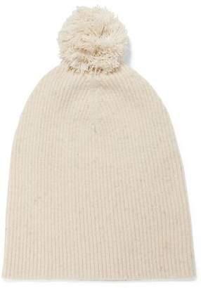 Autumn Cashmere Pompom-Embellished Ribbed Cashmere Beanie