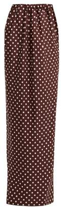 Calvin Klein Poly Faille Polka Dot Print Maxi Skirt - Womens - Brown White