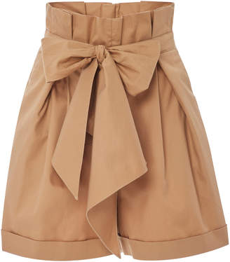 Johanna Ortiz Exclusive Pleated Cotton-Gabardine Shorts