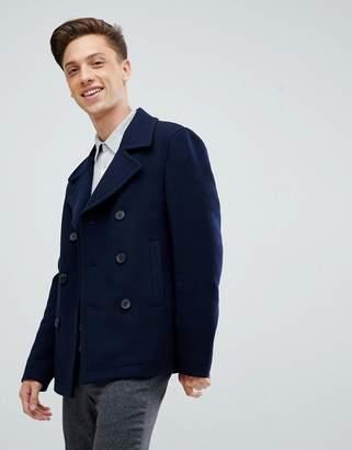 Jack Wills Bickmore wool pea coat in navy