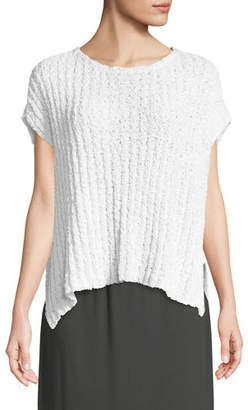 Eileen Fisher Rail-Knit Short-Sleeve Sweater