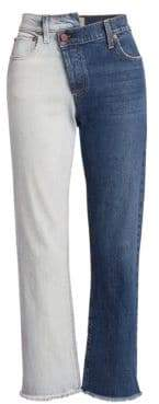 Alice + Olivia AO.LA by Two-Tone Reconstructed Boyfriend Jeans